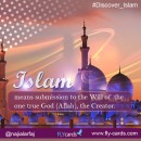 Islam means submission to the one true God (Allah), the Creator.