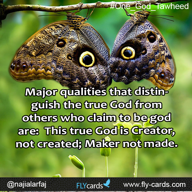 Major qualities that distinguish the true God from others who claim to be godare:  This true God is Creator, not created; Maker not made.